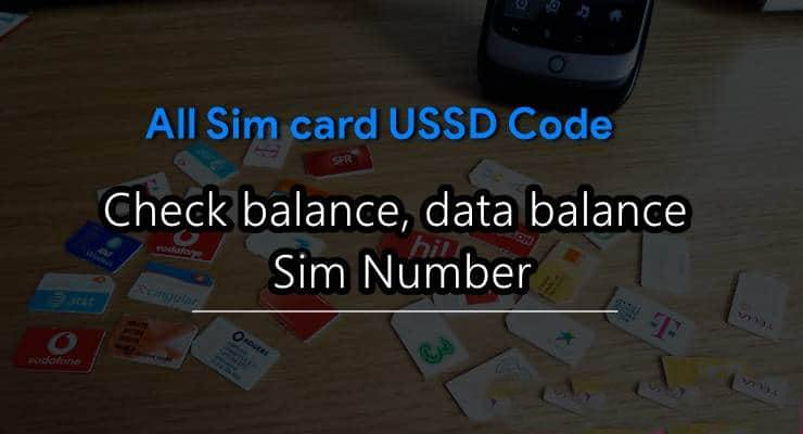 All sim card ussd code