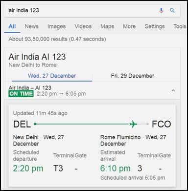 Google airline fligh status checker