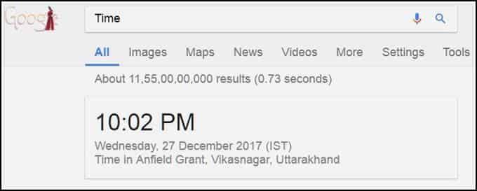 Google time checker